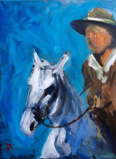 Man on Horse Original Abstract painting on canvas.  https://www.vangoart.co/paul-piasecki/man-on-horse-abstract-figurative-original-acrylic-painting