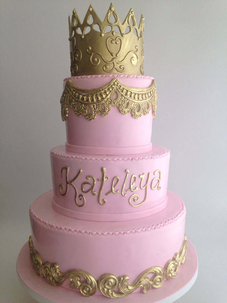 Admirable 3724 Pink And Gold Birthday Cake With Gold Crown Flickr Funny Birthday Cards Online Alyptdamsfinfo