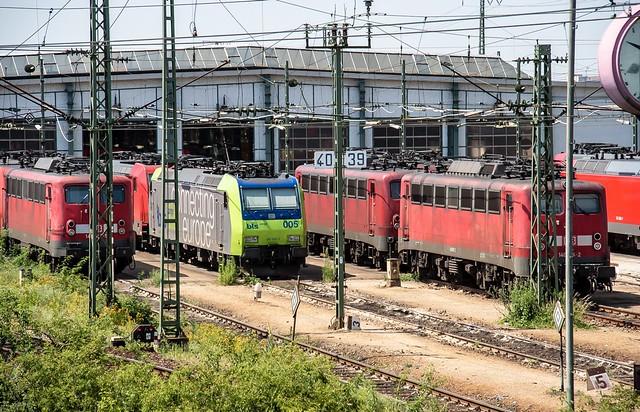 25.06.2006 Mannheim. BW Verschiebebahnhof. DB 185 199, BLS 485 005 140, 140 815, 145 066