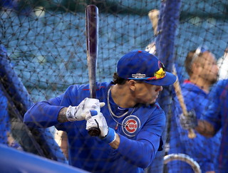 Cubs second baseman Javier Baez takes batting practice before NLCS Game 6. | by apardavila