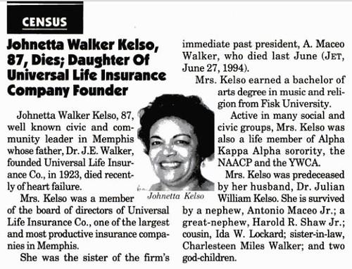Miss Fisk for 1927-1928 Johnetta Walker Kelso Dies in 1995
