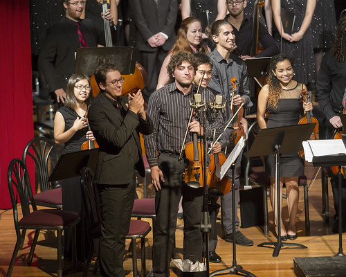 Members of the violin section proudly recognize applause