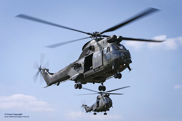 Pictured is an RAF Benson Puma 2 helicopters undertake training during EX AGILE SPEAR 15.