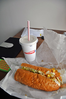 low-key, cheap dinner (vegetarian sub and a small caramel shake) from a fast food place, Hlöllabátar | by Anosmia