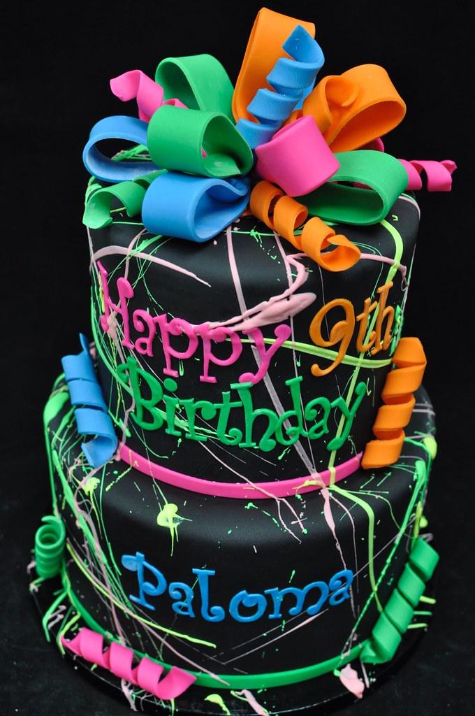 Fantastic Paint Splatter Birthday Cake Jenny Wenny Flickr Personalised Birthday Cards Sponlily Jamesorg