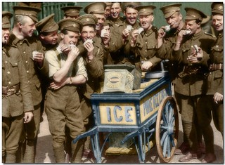 Restoration of a screen capture of video of the Royal Newfoundland Regiment while training in Ayr in Scotland in July 1915. Lots of smiling faces in this one.