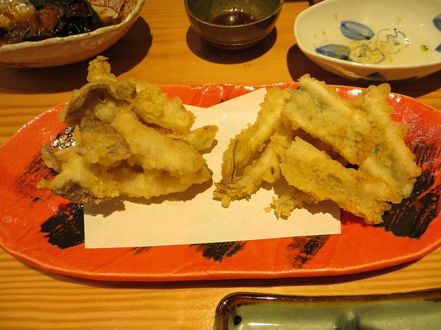Eringi mushroom and anago eel tempura