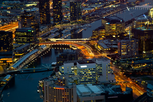 city urban architecture night buildings river lights melbourne roads streaks yarrariver