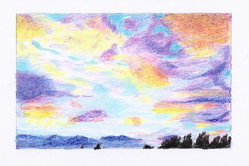 sky crayon clouds drawing sunset