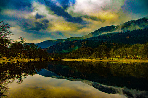 trossachs lightroom stirlingshire scotland scenery scenic scottish scots mountains mountain serene serenity setting reflection reflections reflecting reflect glass mirror sky clouds water waterscape pentaxkr pentax peaceful pentaxdal