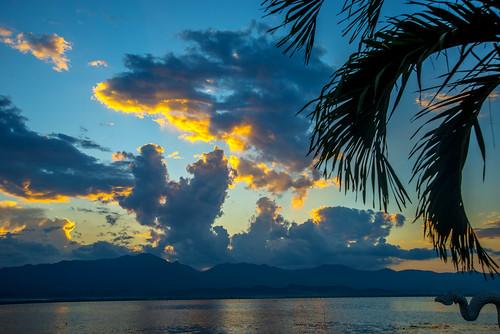 sunset landscape thailand asia kwan phayao