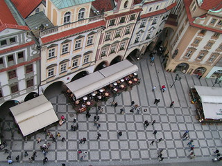 Old town square in Prague as seen from Old Town Hall Tower
