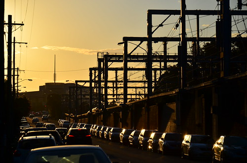 railway sunset dusk pylons electrictrains rail road cars poles wires transport