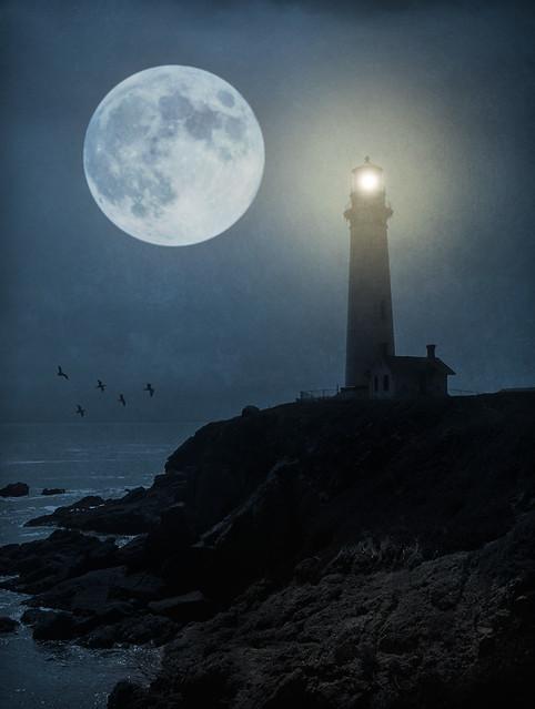 Moon over Pigeon Point Light - Textured