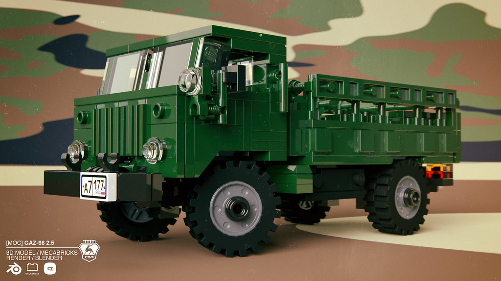 GAZ-66 2 5 tonn truck 4x4 | #mecabricks #render #3D #LEGO #b