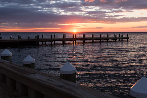 clouds barnegatbay jerseyshore pier ocean water sunset usa doylestownpresbyterianchurch harveycedars newjersey senioradultministry