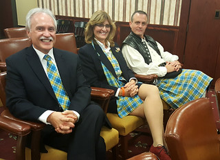 Mon, 11/14/2016 - 20:27 - Three GCC professors presenting the GCC Tartan to the Board of Trustees on Nov. 14, 2016 are (left to right) professors: Rick Dudkowski, Donna Ehrhart and Tracy Ford.