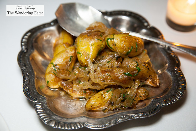 Fingerlings Lyonnaise, side dish that comes with the duck