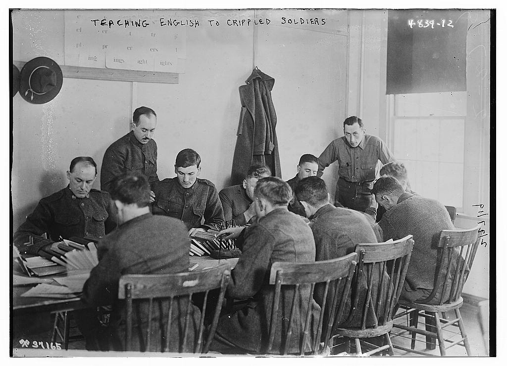 Teaching English to crippled soldiers (LOC)