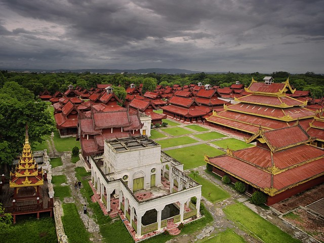 The large complex of the Royal Palace in Mandalay
