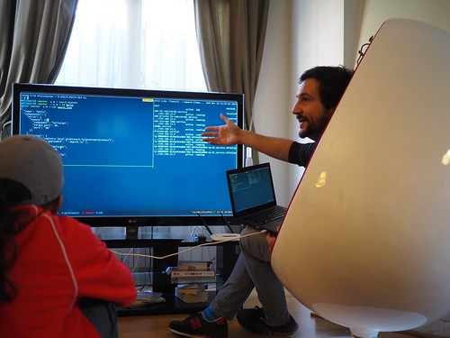 Timo demoing what was our platform back then at Barcelona