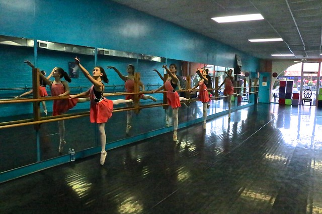 Young Ballet Dancers' Arabesques At The Barre