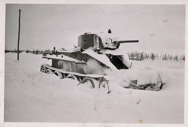 Snow-covered Soviet tank BT-7