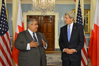 Secretary Kerry Listens as Bahraini Foreign Minister al-Khalifa Addresses Reporters After Their Meeting in Washington