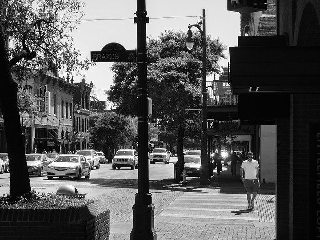 The Streets and Sidewalks of E 6th St in Austin (Black & White)