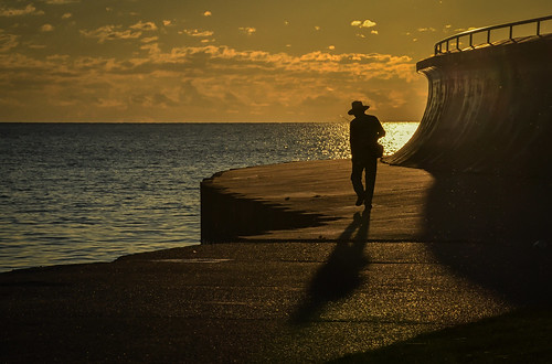 fisherman angler chicagoan lakemichigan thegreatlakes shoreline chicagolakefronttrail horizon morninglight dawn sunrise candid portrait cityscape path walkway walking journey shadow hat fishingpole silhouette story chicagoillinois cityofchicago urban thewindycity chitown man guy dude male steps stepping cookcounty backlight breakwall nikond5100 lightroom5 tamron18270 summer august photoshopbyfehlfarben thanksbine cabadil