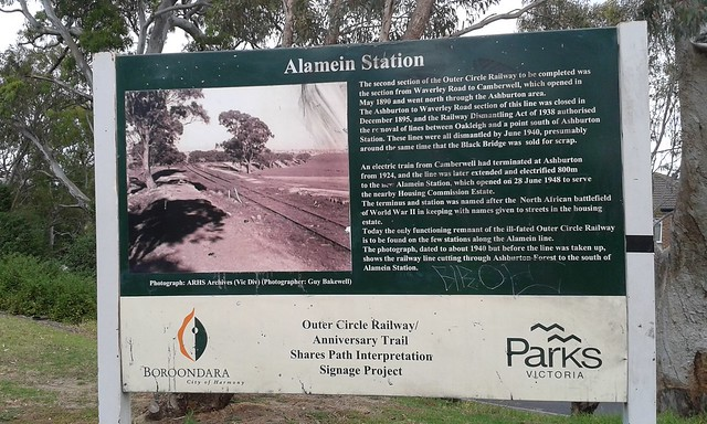 Alamein Station historical sign