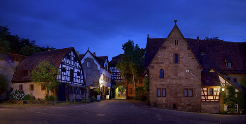 travel sky urban panorama architecture sunrise germany lights monastery bluehour hdr maulbronn