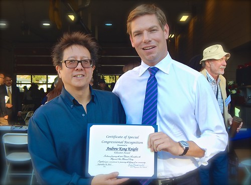 With Congressman Eric Swalwell - Presenting Congressional Recognition Educator Award to Andrew Kong Knight | by Award-winning Artist & Art Educator