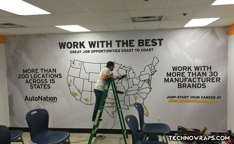 Wall graphics wrap installed by TechnoSigns