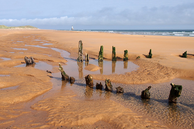 Remains of a shipwreck at Rattray Head, Aberdeenshire