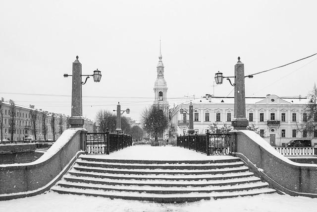 Krasnogvardeyskiy bridge and the bells of St. Nicolas Cathedral