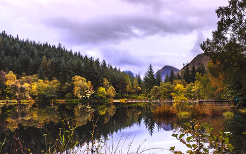 "autumn scotland glencoe loch water reflections sunrise trees clouds landscape ""flickrtravelaward"