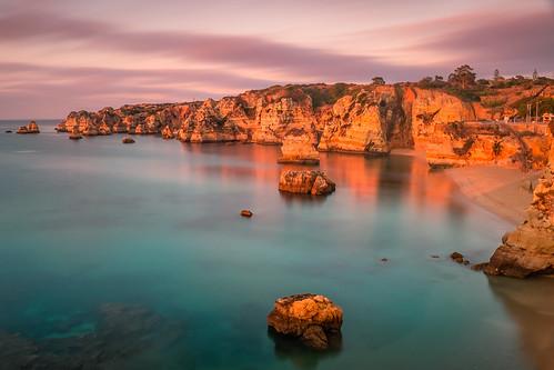 beach cliffs lagos ocean portugal rocks praiadonaana praia europe europa water fuji x100 fujifim x100t wlcx100 faro sunrise clouds corals