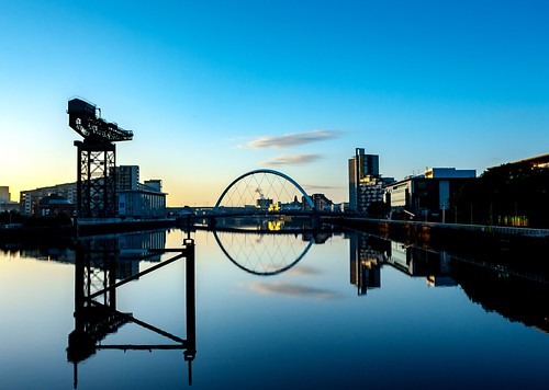 life street city morning bridge blue light sky orange abstract reflection building green water metal architecture clouds contrast sunrise scotland clyde town photo riverside crane glasgow tripod engineering squint glesga stv francismck