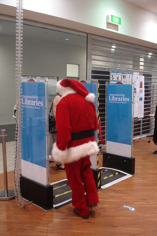 Santa leaves the library