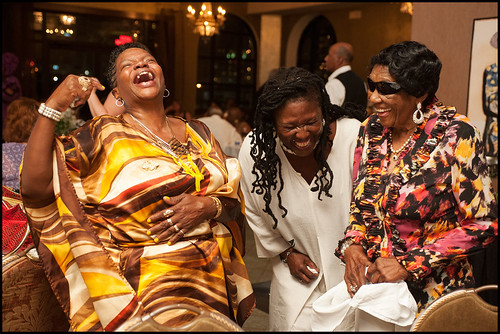 Queen Mary Kay (left) and Queen Mercy (right) at the Mardi Gras Indian Hall of Fame event at Basin Street Station in New Orleans, summer 2015. Photo by Ryan Hodgson-Rigsbee - rhrPhoto.com