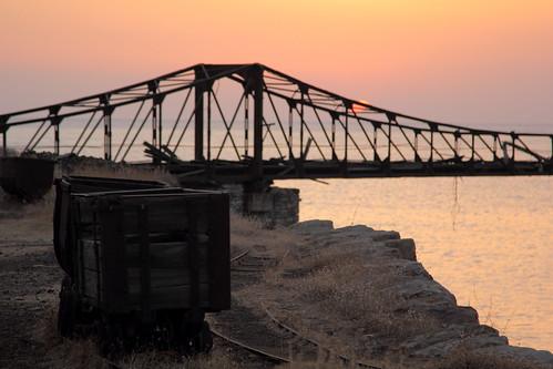 bridge sunset sea car train mine outdoor trolley magic aegean tracks hellas greece deserted serifos canon60d img5568 eikoneselladas originalfileimg5568