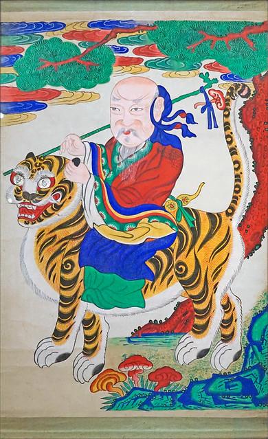 Divinité chamanique sur un tigre (exposition Tigres de papier, musée Guimet)