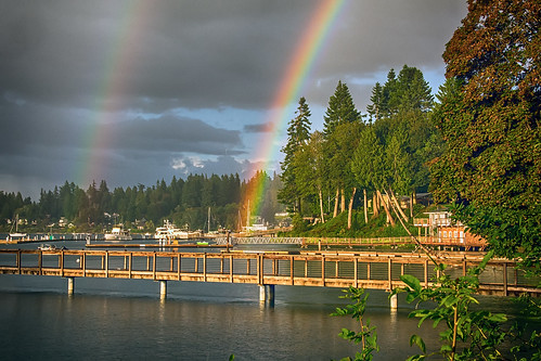 sky water clouds landscape boats washington rainbow dock double bainbridgeisland portmadison