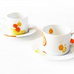 Remon no uta・Daidai no uta (2016) hand painted on porcelain cup and saucer