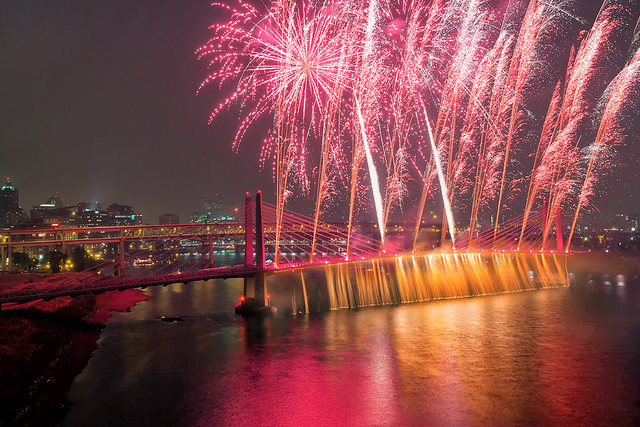 Fireworks and Waterfall