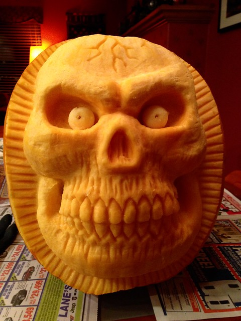 The carving has begun...