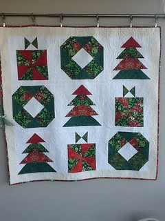 Little joys quilt from Jabber online (free pattern that's a BOM).  Everyone needs a Christmas quilt.