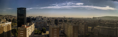 city morning light sea sky panorama sunlight streets color colour sunshine composite architecture clouds sunrise buildings cityscape shadows stitch f14 horizon voigtlander panoramic hills surround assemble handheld manual 40mm nokton pse clasic