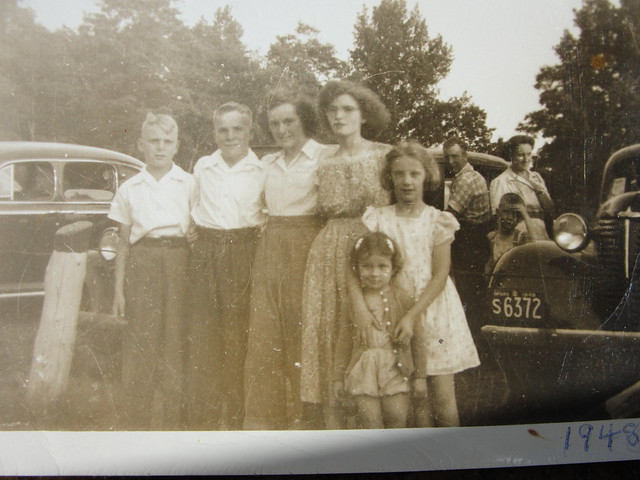 Old Photo:  My uncle (left) and my dad with some family friends - 1948
